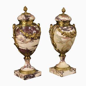 Französische Marmor Potish Vasen, 1920er, 2er Set