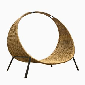 Rattan & Iron Log Holder, 1950s