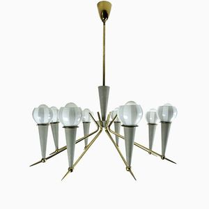 Austrian Sputnik Lamp with Eight Shades, 1950s