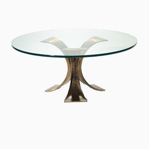 Belgian Glass & Bronze Coffee Table, 1970s