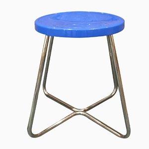 Funktionalistischer Hocker aus Stahl mit Blauem Sitz, 1930er