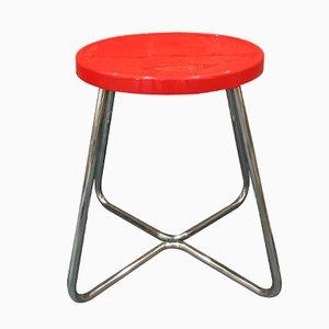 Sgabello funzionalista in acciaio con seduta rossa, anni '30