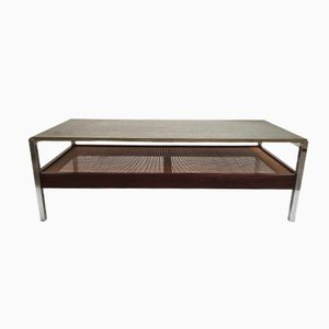 Belgian Coffee Table in Rosewood, Wicker and Slate, 1960s