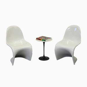 Cream White Panton Chairs by Verner Panton for Horn, 1989, Set of 2