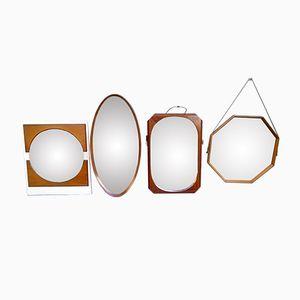 Italian Wooden Mirrors, 1950s, Set of 4
