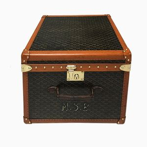 Vintage Chevron Canvas Hat Box from Goyard