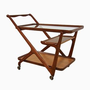 Italian Walnut Serving Trolley by Cesare Lacca for Cassina, 1950s