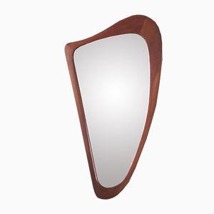 Triangular Danish Teak Mirror from Johansens Spejle, 1950s