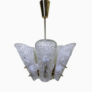 Austrian Brass & Textured Glass Chandelier by J.T. Kalmar for Kalmar, 1950s