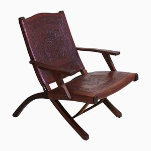 Peruvian Handmade Leather Lounge Chair, 1960s