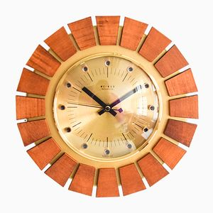 Teak and Brass Weimar Clock, 1960s
