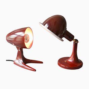 Vintage German Dark Red Bakelite Desk Lamps, Set of 2