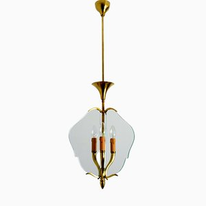 Italian Brass and Glass Pendant, 1950s