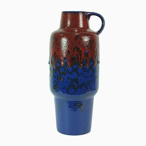Vintage Blue and Red Fat Lava Vase