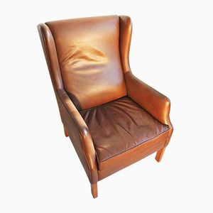 Danish Brown Leather Wingback Chair