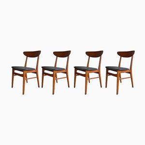 Danish Model 210 Teak & Beech Dining Chairs from Farstrup, 1960s, Set of 4