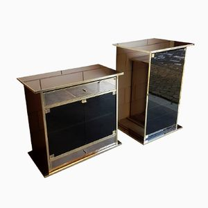Brass, Mirror, & Smoked Glass TV & Audio Cabinets, 1980s, Set of 2