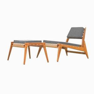 Mid-Century German Modern Hunting Chair & Ottoman, 1960s