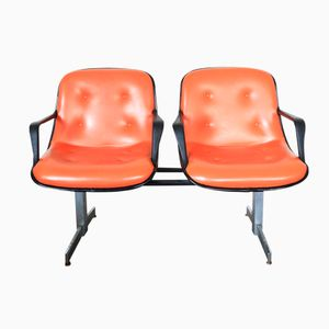 Mid-Century Orange Two-Seater Waiting Room Bench from Blair Co.