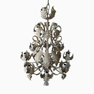 Vintage Grey Wrought Iron Chandelier