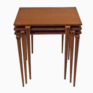 Vintage Teak & Brass Nesting Tables