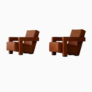 Vintage 637 Leather Armchairs by Gerrit T. Rietveld for Cassina, Set of 2