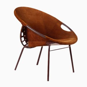 Vintage German Leather Cocktail Chair, 1970s