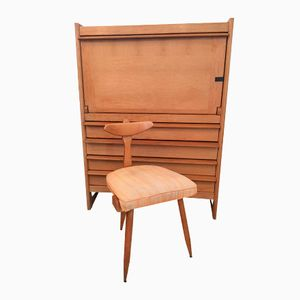 Secretaire and Chair from Guillerme et Chambron, 1960s
