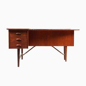 Danish Teak Desk with Drop-Door Bar Cabinet by Peter Løvig Nielsen, 1950s