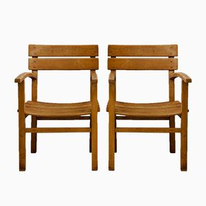 Children's Beech Armchairs, 1930s, Set of 2