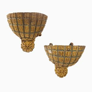 Antique Scallop Shell Wall Lights, Set of 2