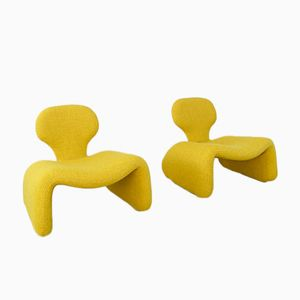 Mid-Century Yellow Djinn Chairs by Olivier Mourgue for Airborne, Set of 2