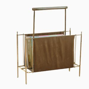 Vintage Brass and Velvet Magazine Rack, 1950s
