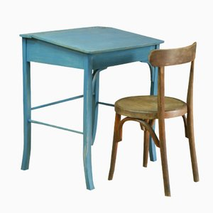 Vintage Wooden School Desk and Chair Set by Baumann and Fischel, 1950s