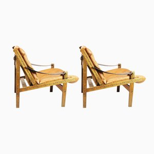 Mid-Century Brown Leather Armchairs by Torbjørn Afdal for Bruksbo, Set of 2