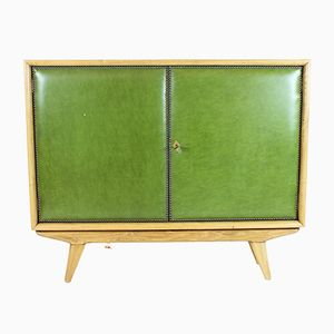 Spanish Walnut and Leatherette Bar Cabinet, 1950s