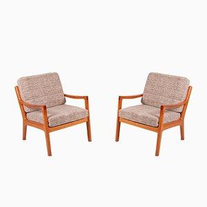 Easy Chairs Mid-Century en Teck par Ole Wanscher pour Poul Jeppesen, Danemark, Set de 2