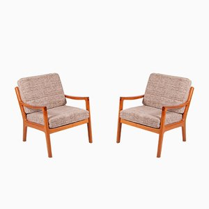 Mid-Century Teak Easy Chairs by Ole Wanscher for Poul Jeppesen, Set of 2