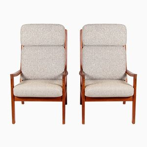 Mid-Centry Teak and Wool Highback Chairs by Ole Wanscher for Jeppesen Mobelfabrik, Set of 2