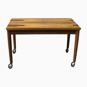 Danish Small Rosewood Table on Wheels, 1960s