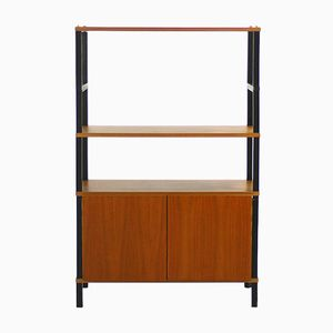 Walnut Shelving Unit with Closed Compartment, 1960s