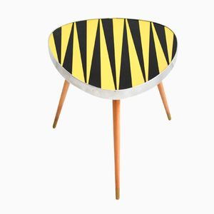 Vintage Tripod Flower Table in Black and Yellow, 1960s