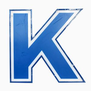 Illuminated Letter K in White and Blue, 1970s