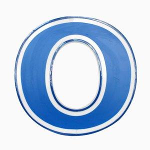 Beleuchteter Buchstabe O in Weiß und Blau, 1970er