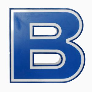 Illuminated Letter B in White and Blue, 1970s