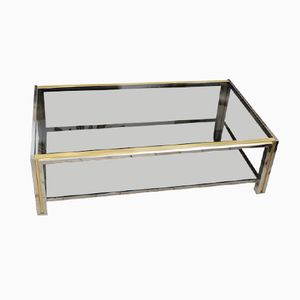 French Chrome and Brass Coffee Table, 1970s