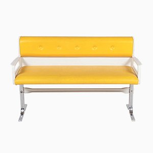 Yellow Bench with Chrome Feet, 1970s