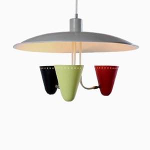 Saucer Light Pendant 3 with Colored Shades by H. Busquet for Hala