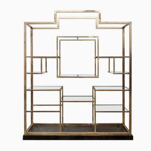 Large Glass & Brass Shelf by Kim Moltzer, 1970s