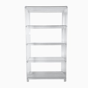 Dutch Lucite and Glass Bookcase, 1980s